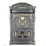 Yahead Mailbox Retro Vintage European Aluminum Outdoor Wall Mounted Mail Box Post Box Secure Letterbox Outside Mailboxes