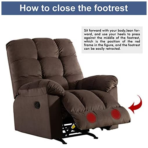 Living Room ANJ Rocker Recliner Chair Adjustable Overstuffed Fabric Manual Reclining Chair Soft Contemporary Sofa for Living Room…