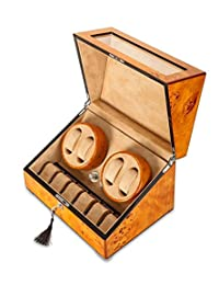 BonNoces Watch Box / Double Automatic Watch Case/ Top Quality Wooden Watch Winder with 10 storages (Brown)