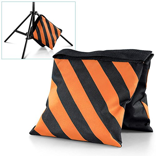 Tableclothsfactory 4 Pack Heavy Duty Double Zipper Nylon Sand Weight Saddle Bag for Light Backdrop Stands Tripods - Orange/Black