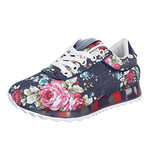Ital-Design - zapatos de tiempo libre Mujer Multicolor - Blau Multi