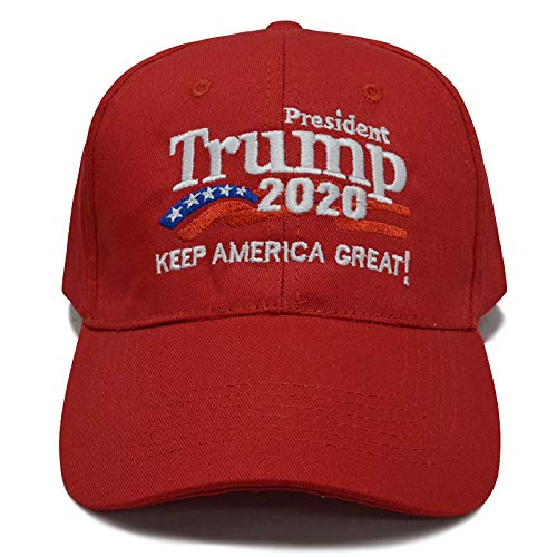 - Besti Donald Trump 2020 Keep America Great Cap Adjustable Baseball Hat with USA Flag - Breathable Eyelets (Red 007)