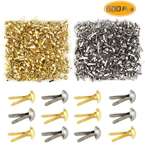 Scrapbooking Metal Brads (Yexpress 600 Pieces 4.5 x 8mm Gold & Silver Mini Brads Round Paper Fasteners Brass Pastel Metal Brads for Scrapbooking Crafts DIY Paper)