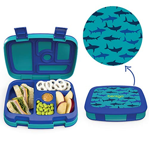 - Bentgo Kids Prints (Sharks) - Leak-Proof, 5-Compartment Bento-Style Kids Lunch Box - Ideal Portion Sizes for Ages 3 to 7 - BPA-Free and Food-Safe Materials