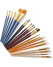 Decdeal 25Pcs Paint Brushes Set PaintBrushes Starter Kit Includes Taklon/Bristle/Horse Hair Brushes and Sponge Brushes for Acrylic Oil Watercolor Gouaches Painting Artist Supplies