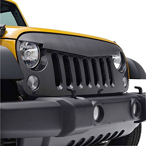 (EAG 07-17 Jeep Wrangler JK Angry Bird Grille ABS Replacement Grill Carbon Fiber Look)