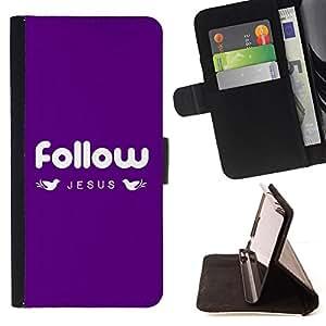 BullDog Case - FOR/Apple Iphone 4 / 4S / - / FOLLOW JESUS /- Monedero de cuero de la PU Llevar cubierta de la caja con el ID Credit Card Slots Flip funda de cuer