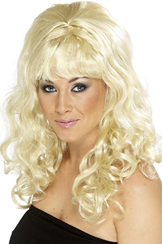 Smiffy's Women's Blonde Beehive Wig with Curls, One Size, Beehive Beauty Wig, 5020570420638 (Beehive Costume Wig)