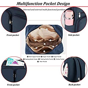 Baby Changing Backpack, Diaper Bag, Mommy Tote Bag, Large Capacity Multifunction Stylish Waterproof Travel Backpack…