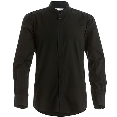Amazon.com: Kustom Kit Mens Mandarin Collar Fitted Long Sleeve ...
