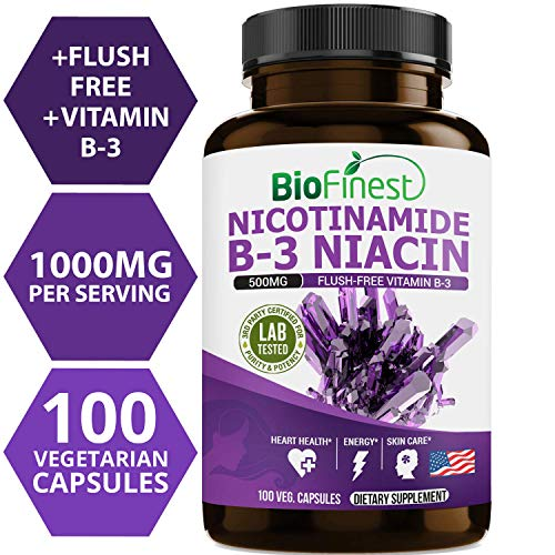 Biofinest Vitamin B3 Nicotinamide 500mg - Flush-Free Formula - Organic Gluten-Free Non-GMO - Made in USA - Supplement for Healthy Cholesterol Levels, Metabolism, Skin Care (120 Vegetarian Capsules)