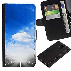 All Phone Most Case / Oferta Especial Cáscara Funda de cuero Monedero Cubierta de proteccion Caso / Wallet Case for Samsung Galaxy S5 Mini, SM-G800 // Heaven Sky God Religious Sky Clouds