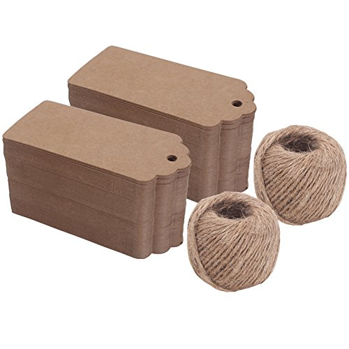 (Zicome 200Pcs Kraft Paper Gift Tags for Christmas Presents Wedding Party Favors, 200 Feet Natural Jute Twine)
