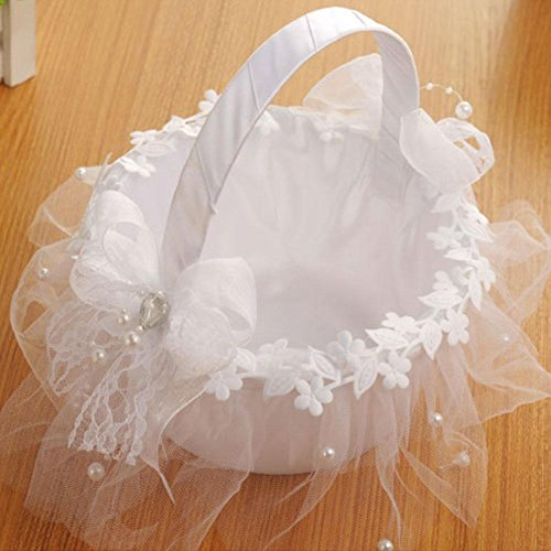 Taloyer Bride Hand Knit Ribbon Lace Flower Basket Delicate Wedding Supplies by Taloyer (Image #5)