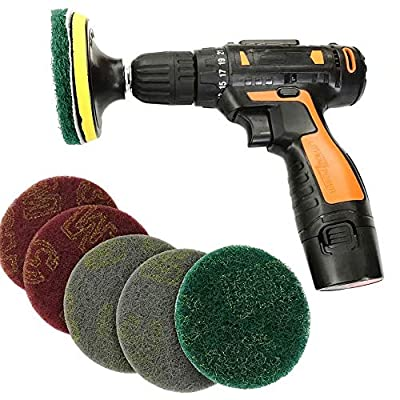 VacFit 4 Inch Drill Power Brush Scouring Pad, 6 Pieces/12 Pieces Bathroom & Kitchen Power Scrub Pad Cleaning Kit