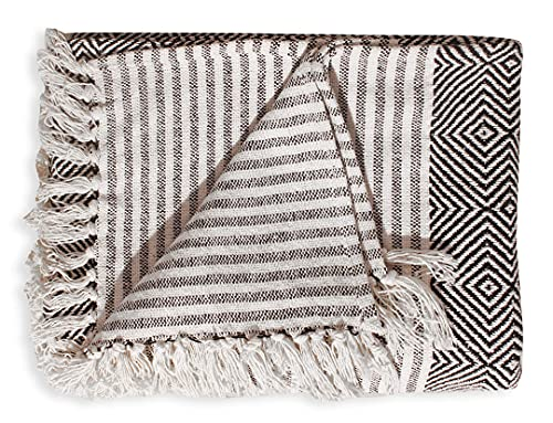 Countryside Farmhouse Throw Blanket - Vintage Boho Room Decor Soft Cotton Cozy Sofa Bed Throws with Cute Tassels - Black…