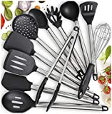 11 Silicone Cooking Utensils Kitchen Utensil set - Stainless Steel Silicone Kitchen Utensils Set - Silicone Utensil Set Spatula Set - Silicone Utensils Cooking Utensil Set - Kitchen Tools and Gadgets