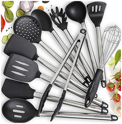 11 Silicone Cooking Utensils Kitchen Utensil set - Stainless Steel Silicone Kitchen Utensils Set - Silicone Utensil Set Spatula Set - Silicone Utensils Cooking Utensil Set - Kitchen Tools and Gadgets ()