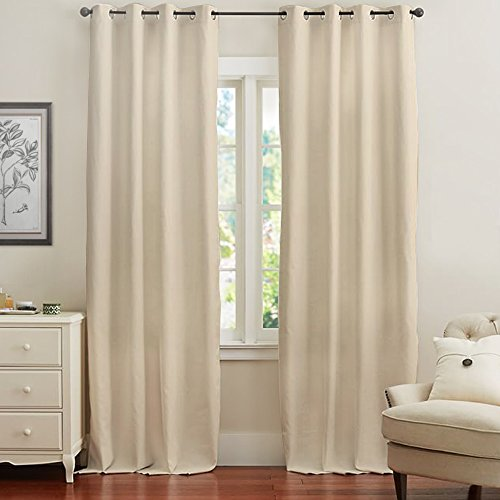Energy Efficient 95 inch Blackout Curtains, Room Darkening Curtain Panel for Bedroom / Living Room (Beige, Sold Individually)