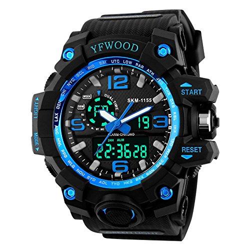 Men's Analog Digital Sports Watch Big Dial Dual Time Military Army Watch Waterproof Wrist Watch LED Back Light Stopwatch ()