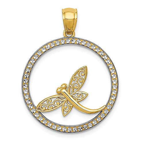 14k Yellow Gold Dragonfly Circle Pendant Charm Necklace Insect Fine Jewelry Gifts For Women For Her