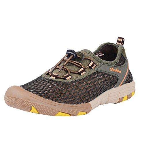 NEOYOWO Mens Quick Drying Aqua Water Shoes for Hiking Beach Walking(Army Green 42 EU)