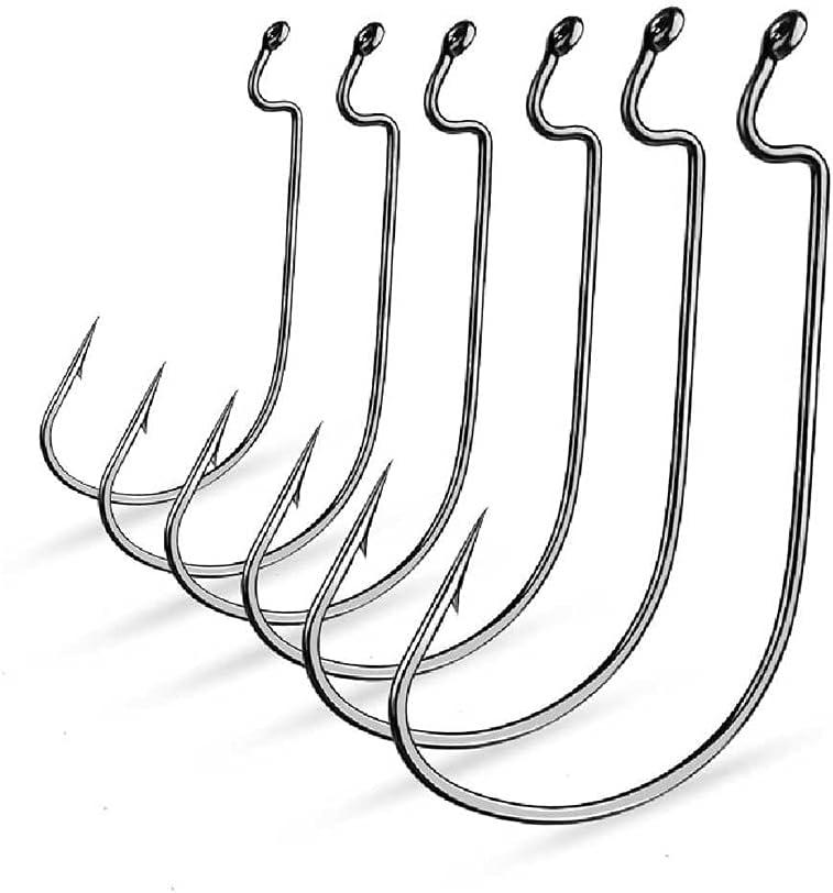 NZYH Gancho De Pesca De Gran Brecha 10Pcs / Paquete De Tiras Delgadas, Gancho De Gusano Compensado Fuerte Gancho Bajo, Utilizado para Abrazaderas De Cebo Suave N