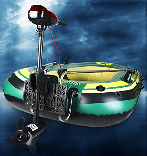 2-Person Inflatable Boat Set with Electric Trolling Motor and Aluminum Oars and High Output Air Pump