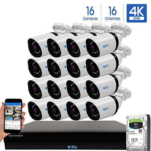 GW 16 Channel 4K H.265 CCTV DVR Security System with 16 x HD 8MP 2160P Outdoor Indoor 4K Bullet Security Cameras, 100ft Night Vision, 4TB Hard Drive Pre-Installed