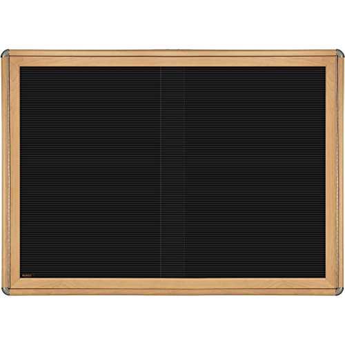 Ovation 2 Sliding Door Wood Look Felt Wall Mounted Letter Board, 3' H x 4' W Frame Finish: Maple, Surface Color: Black, Color: Chrome by Ghent