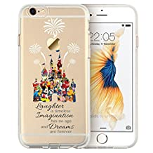 """Cartoon Movie Character Themed Fan Art CLEAR Hybrid TPU Surround with Hard Back Cover Case for iPhone Range - Disney Themed Castle-iPhone 6 (4.7"""")"""