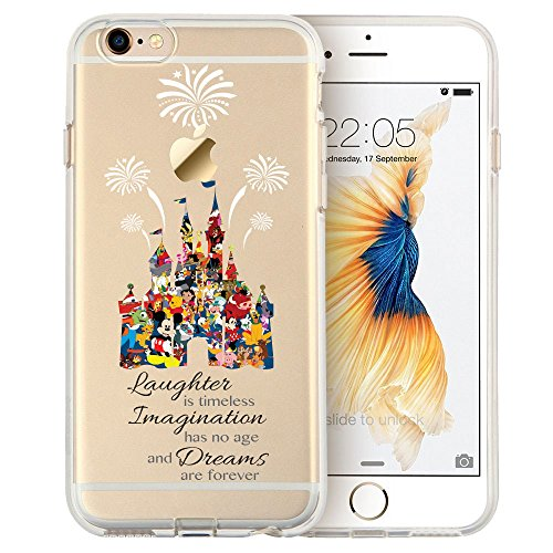 "Cartoon Movie Character Themed Fan Art CLEAR Hybrid TPU Surround with Hard Back Cover Case for iPhone Range - Disney Themed Castle-iPhone 7 (4.7"")"