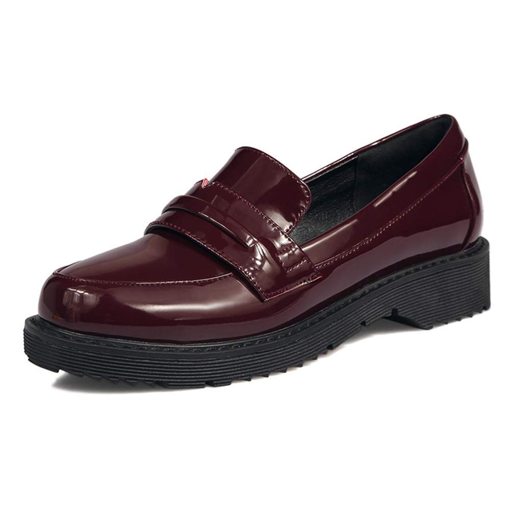 Wine Red Elsa Wilcox Women Flat Low Heel Patent Leather Platform Slip On Comfort Dress Oxford shoes Classic Penny Loafers