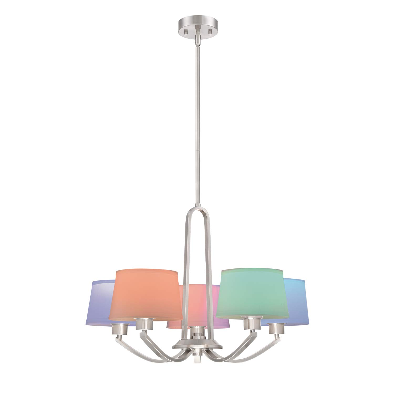 Designers Fountain 88530SP-A WiZ Connected Satin Platinum Mini-Pendant Tunable and Dimmable Smart Bulb Included Color Changing 1 A19 RGB