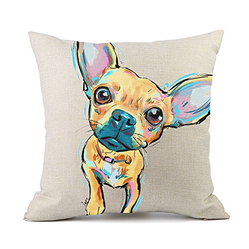 Redland Art Cute Pet Chihuahua Dogs Pattern Cotton Linen Throw Pillow Covers Cushion Cover Pillowcases Home Decor 18 x 18 Inches