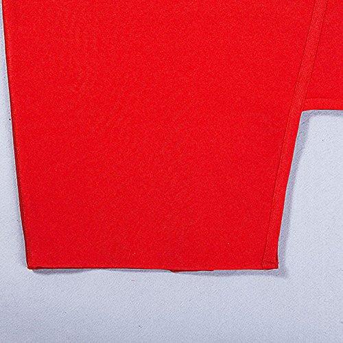 HLBandage Rot Seiten Keyhole Kunstseide ärmel Verband Schlitz Kleid v0qvrHdfxw