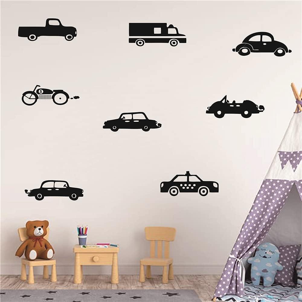 8pcs / Set Cars Trucks Pattern Wall Decor Sticker Art Vinyl Engineering Vehicle Wall Decal for Boys Room Kids Nursery Playroom Bedroom Wall Decals (TM-1 Black)