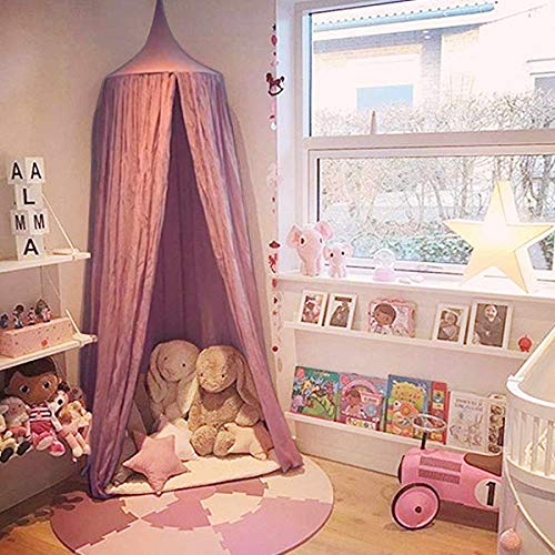 Dix-Rainbow Princess Bed Canopy Net for Kids Baby Bed, Round Dome Kids Indoor Outdoor Castle Play Tent Hanging House Decoration Reading Nook Cotton Mauve Rose (Girls Purple Bed Canopy)
