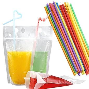 Amazon.com: Ahoney - 50 bolsas de plástico para bebidas, con ...