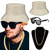 ZeroShop 80s/90s Hip Hop Costume Kit - Cotton Bucket Hat,Gold Chain Beads,Oversized Rectangular Hip Hop Nerdy Lens Sunglasses (OneSize, Beige)