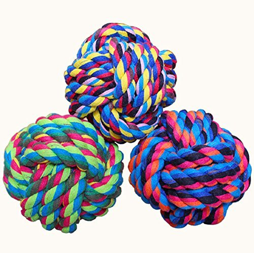(Wellbro Dog Rope Toy, Colorful Woven Cotton Puppy Chew Toy, Interactive Jolly Balls for Dogs and Cats, Great for Pets' Play and Fun, Pack of 3)