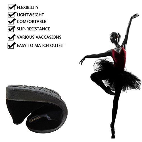 Flats Yoga Ballet US Jane Mary Dance Ballerina Shoes Velvet EU Shoes 36 Women's 6 Black PESTOR Flat Exercise BwpqS0xgn