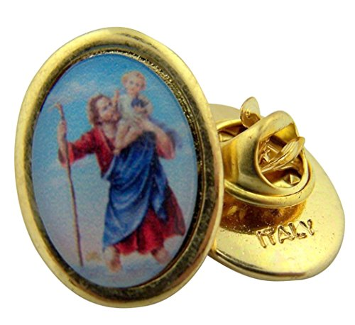 Saint Christopher Medal Pin (Gold Toned Base and Epoxy Image Saint Christopher Icon Medal Lapel Pin, 1 Inch)