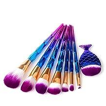 Makeup Brushes Set ,Naladoo 8Pcs Dark Purple Blue Plating Diamond Mermaid Makeup Brush Set Dazzle Glitter Big Fish Tail Foundation Brushs Cosmetics Blending Brush Tool