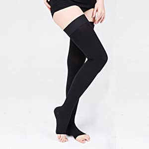 LTHA Compression Sock for Men & Women, Thigh High Stockings, Firm Support 20-30 mmHg Gradient Compression with Silicone Band - Treatment Swelling, Varicose Veins, Edema, Boost Recovery.(oBlack-XXL) (Color: Black(open), Tamaño: XX-Large)