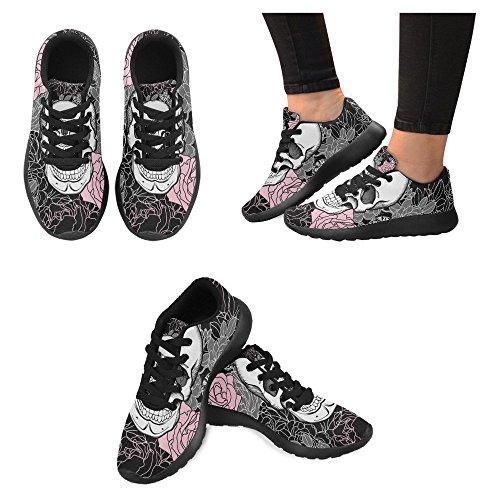 InterestPrint Womens Jogging Running Sneaker Lightweight Go Easy Walking Casual Comfort Sports Running Shoes Vintage Skull and Flowers Multi 1 GXijilH0cr