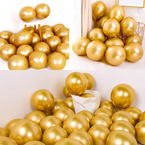 Gold Party Balloons-50Pcs Gold Metallic Chrome Shiny Balloons-Decorations for Birthday Wedding Engagement Baby Shower Graduation Carnival Party Supplies (Party Corporate Decorations)