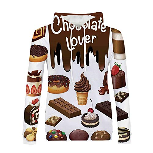 Kitchen Decor Stylish Hoodies,Chocolate Lover Sweets Cake Decorations Pattern Icecream Retro Style Design Cafe Home for Girls,XXL