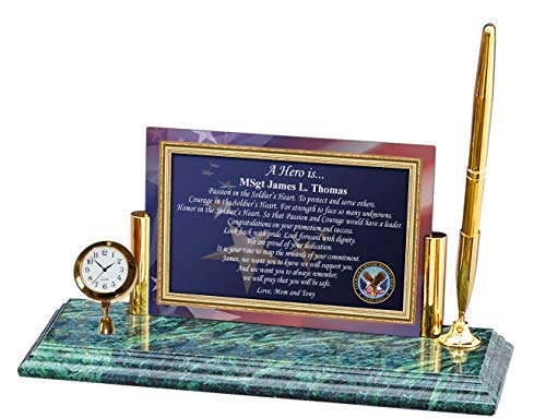 AllGiftFrames Personalized Military Gift Poetry Soldier Officer Seargent Mini Clock Pen Marble Award Promoted Lieutenant Colonel Major USAF Police USMC Sheriff FBI Navy CIA Army Air Force