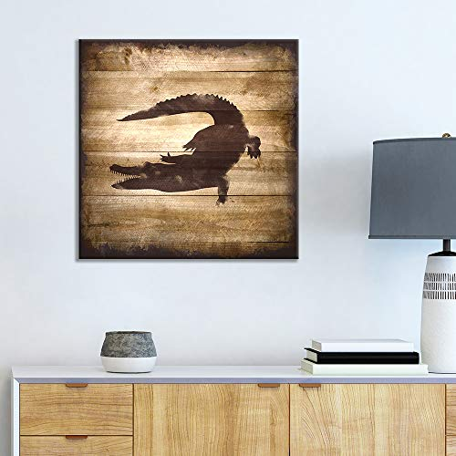 Square Crocodile Silhouette on Rustic Wood Board Texture Background